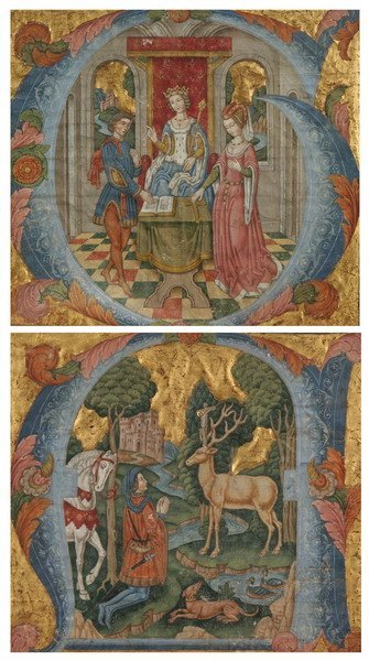 809: TWO ILLUMINATED MANUSCRIPT PAGES. - 10 1/4 x 9 1/2