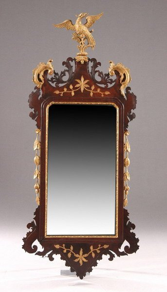 850: CHIPPENDALE STYLE MAHOGANY AND PARCEL-GILT LOOKING