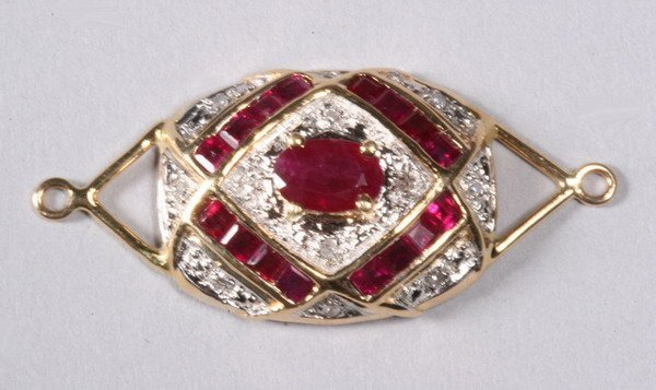 1025: RUBY AND DIAMOND PENDANT.