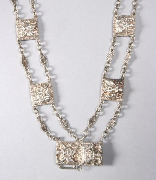 1029: SILVER TIBETAN FLEXIVLE STYLE LINK CHAIN NECKLACE