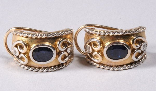 1037: PAIR SAPPHIRE AND DIAMOND EARRINGS.