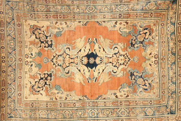 1156: TURKISH SILK RUG WITH DRAGON AND PHOENIX MOTIFS.