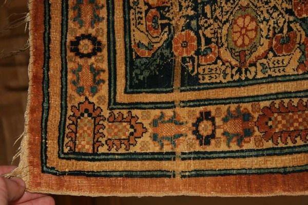 1156: TURKISH SILK RUG WITH DRAGON AND PHOENIX MOTIFS.  - 4