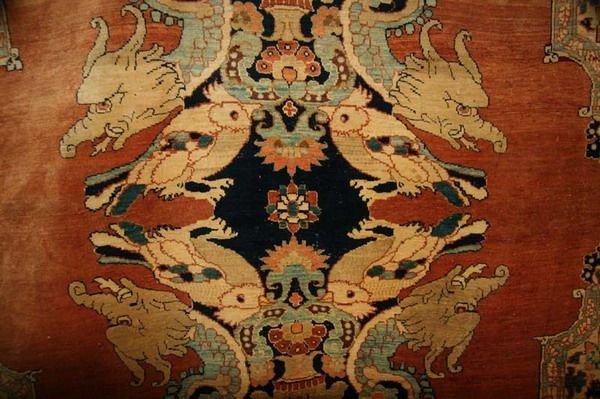1156: TURKISH SILK RUG WITH DRAGON AND PHOENIX MOTIFS.  - 7