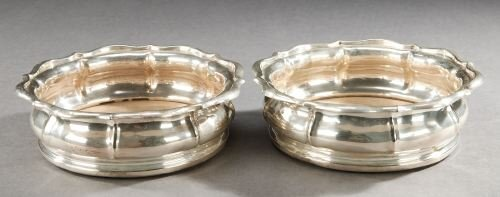 5: A PAIR OF WILLIAM IV SILVER WINE COASTERS. Probably