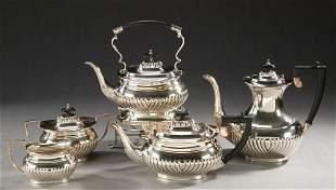 A FIVE PIECE SHEFFIELD PLATE TEA AND COFFEE SERVICE,