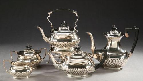 8: A FIVE PIECE SHEFFIELD PLATE TEA AND COFFEE SERVICE,