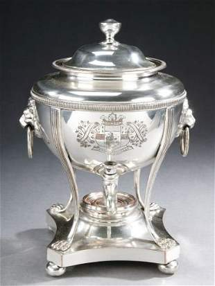 A SHEFFILED PLATE TEA URN, 20th century - 11 1/2 in.