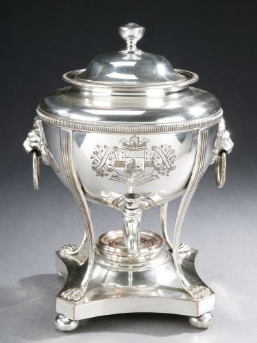 9: A SHEFFILED PLATE TEA URN, 20th century - 11 1/2 in.