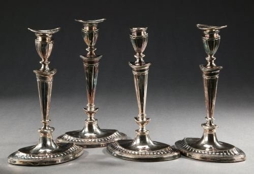 10: TWO PAIRS OF GEORGE III SHEFFIELD PLATE CANDLESTICK