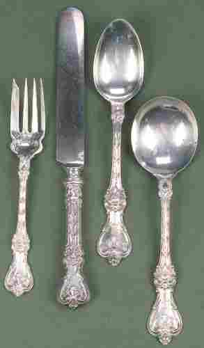 A FORTY-TWO PIECE WHITING SILVER PARTIAL FLATWARE S