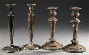 TWO PAIRS OF CANDLESTICKS. - 9 in. high, the taller