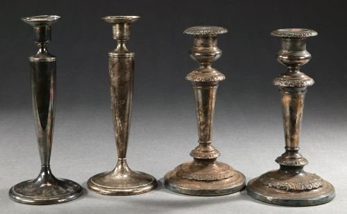 18: TWO PAIRS OF CANDLESTICKS. - 9 in. high, the taller