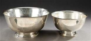 TWO REVERE STYLE STERLING BOWLS. - 61 oz. 8 dwt. to