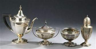 24: A THREE PIECE AMERICAN SILVER COFFEE SERVICE AND A