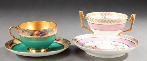 80: TWO SETS FLORAL DECORATED CUPS AND SAUCERS, Early 2