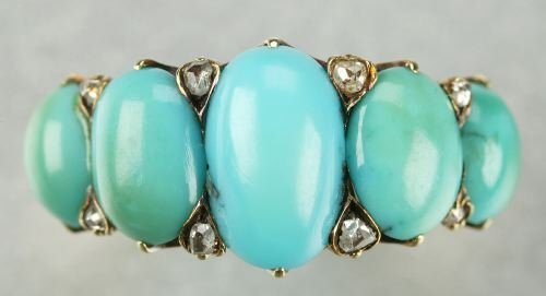 602: AN ANTIQUE 18K YELLOW GOLD, TURQUOISE AND DIAMOND
