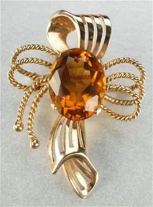 AN 18K YELLOW GOLD, CITRINE BROOCH