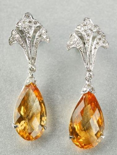 615: A PAIR OF 18K WHITE GOLD, CITRINE AND DIAMOND EARP