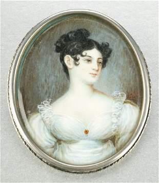 PORTRAIT MINIATURE ON IVORY OF A LADY, 19th centur