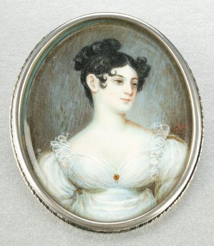 620: PORTRAIT MINIATURE ON IVORY OF A LADY, 19th centur