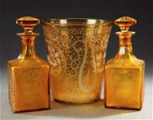 906: THREE PIECES BOHEMIAN ETCHED AMBER GLASS, circa 18
