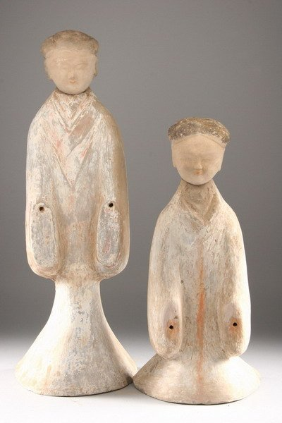2: TWO OF CHINESE POLYCHROME POTTERY TOMB FIGURES, West