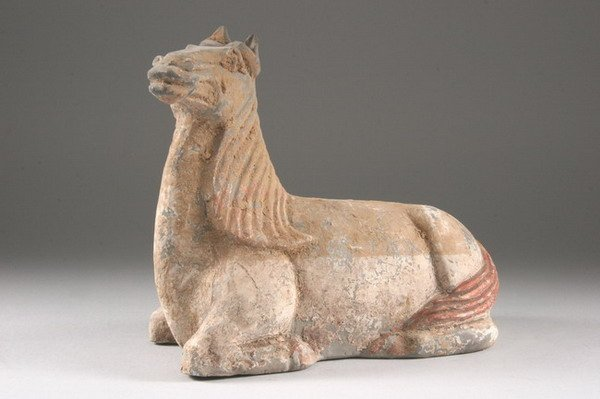 3: CHINESE POLYCHROME POTTERY FIGURE OF HORSE, Han dyna
