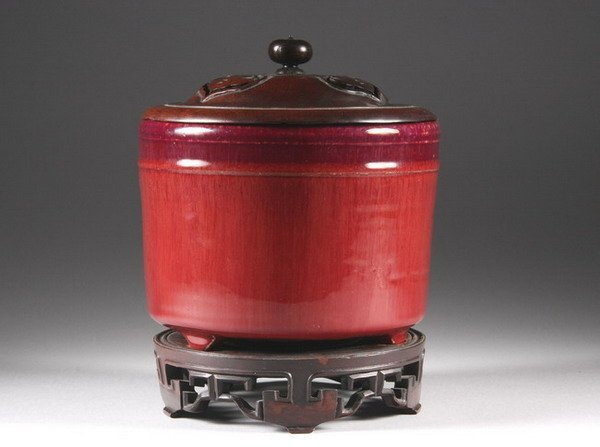 19: CHINESE COPPER RED PORCELAIN CENSER, Qing dynasty.