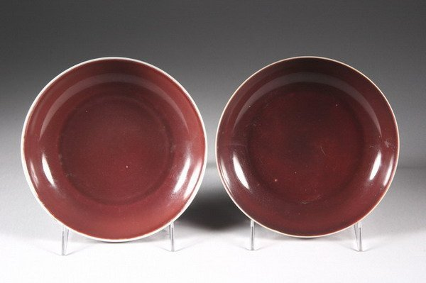 20: TWO CHINESE COPPER RED PORCELAIN SAUCERS, Qianlong