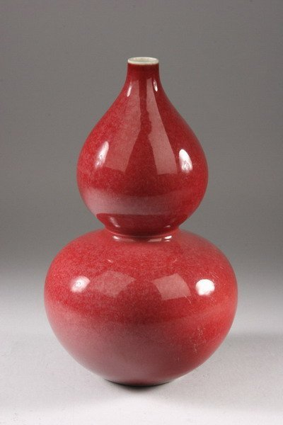 25: CHINESE PEACH BLOOM PORCELAIN DOUBLE GOURD VASE, Qi