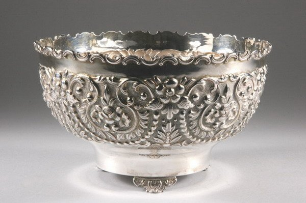 497: ANGLO-INDIAN REPOUSS? SILVER BOWL. marked 'silver'