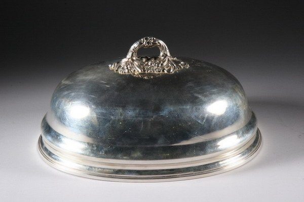 512: SILVERPLATED DOMED MEAT COVER. circa 1880. - 14 in