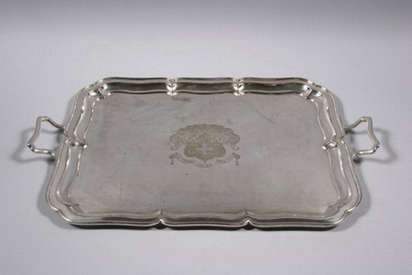 513: EDWARDIAN SILVERPLATED TWO-HANDLED TRAY. Mappin &
