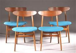 SET EIGHT DANISH MODERN TEAK WOOD DINING CHAIRS,