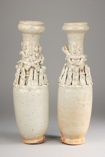 19: PAIR CHINESE QINGBAI PORCELAIN VASES, Yuan dynasty.