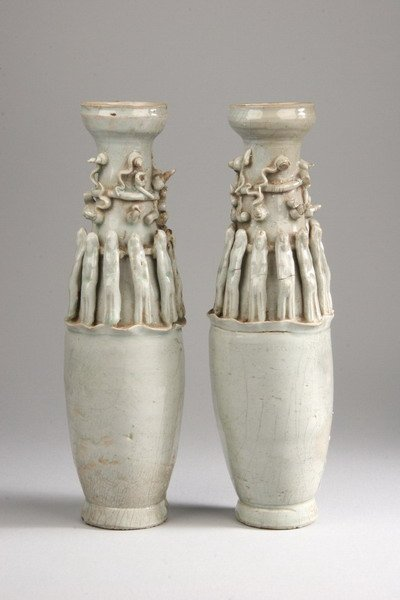 22: PAIR CHINESE QINGBAI PORCELAIN VASES, Yuan dynasty.