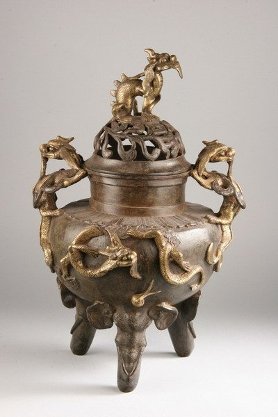 24: CHINESE GILT BRONZE TRIPOD CENSER, Xuande mark and