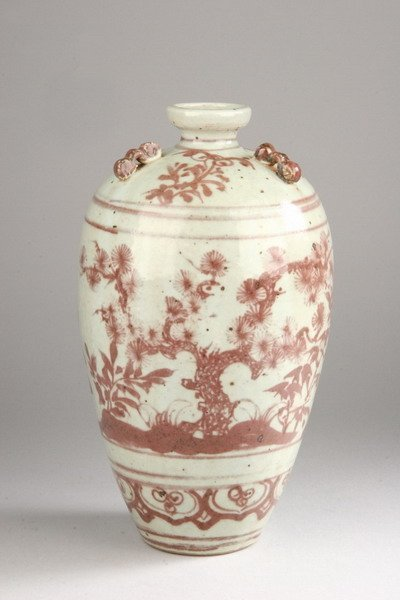 65: CHINESE COPPER RED AND WHITE PORCELAIN VASE. - 11 1