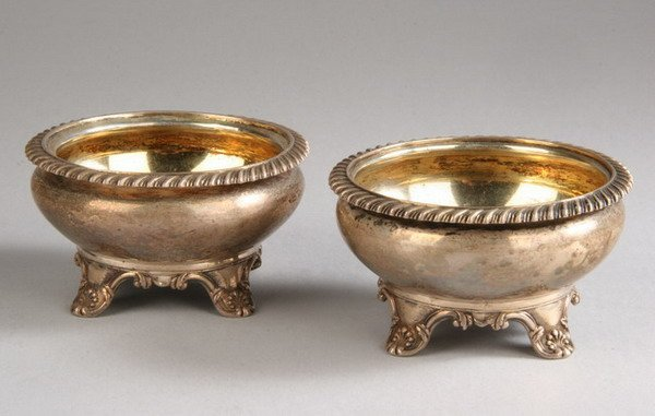 681: PAIR WILLIAM IV SILVER SALTS, By E.J. and W. Barna