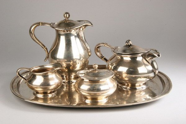 697: FIVE PIECE ART DECO CONTINENTAL SILVER COFFEE AND