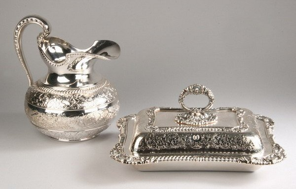 701: TWO SILVER-PLATED SERVING PIECES. - 9 1/2 in. high