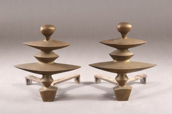 866: PAIR OF BRASS CONTEMPORARY ANDIRONS, mid 20th cent