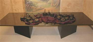 CONTEMPORARY GRANITE DOUBLE-PEDESTAL DINING TABLE,