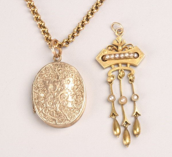 1244: TWO PIECES VICTORIAN JEWELRY.