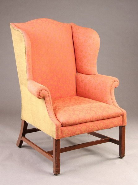 1688: AMERICAN CHIPPENDALE UPHOLSTERED EASY CHAIR. last