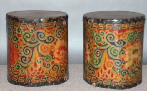 807: TWO TIBETAN POLYCHROME WOOD AND LEATHER DRUMS, cir
