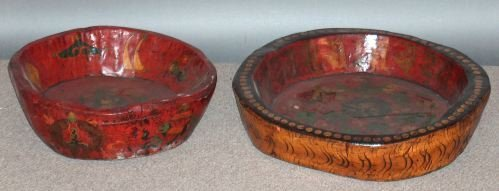 809: TWO LARGE TIBETAN POLYCHROME WOOD SHALLOW BOWLS, c