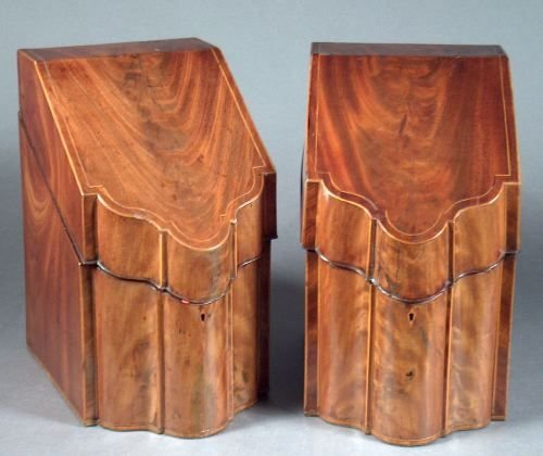 1151: A PAIR OF GEORGE III INLAID MAHOGANY CUTLERY BOXE