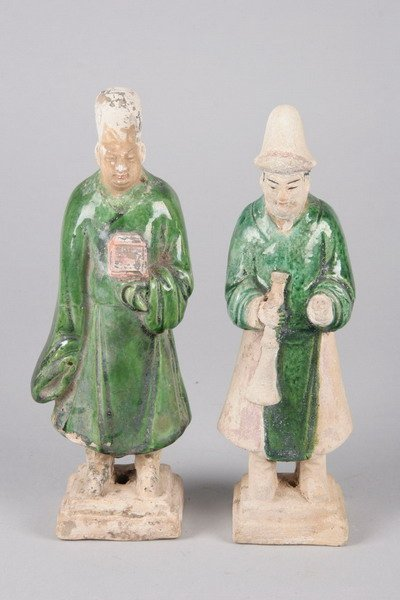 1A: PAIR OF CHINESE GREEN GLAZED POTTERY FIGURES. Ming